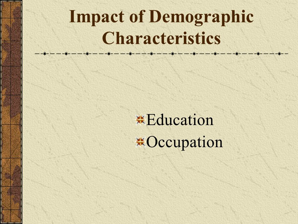 Impact of Demographic Characteristics Education Occupation