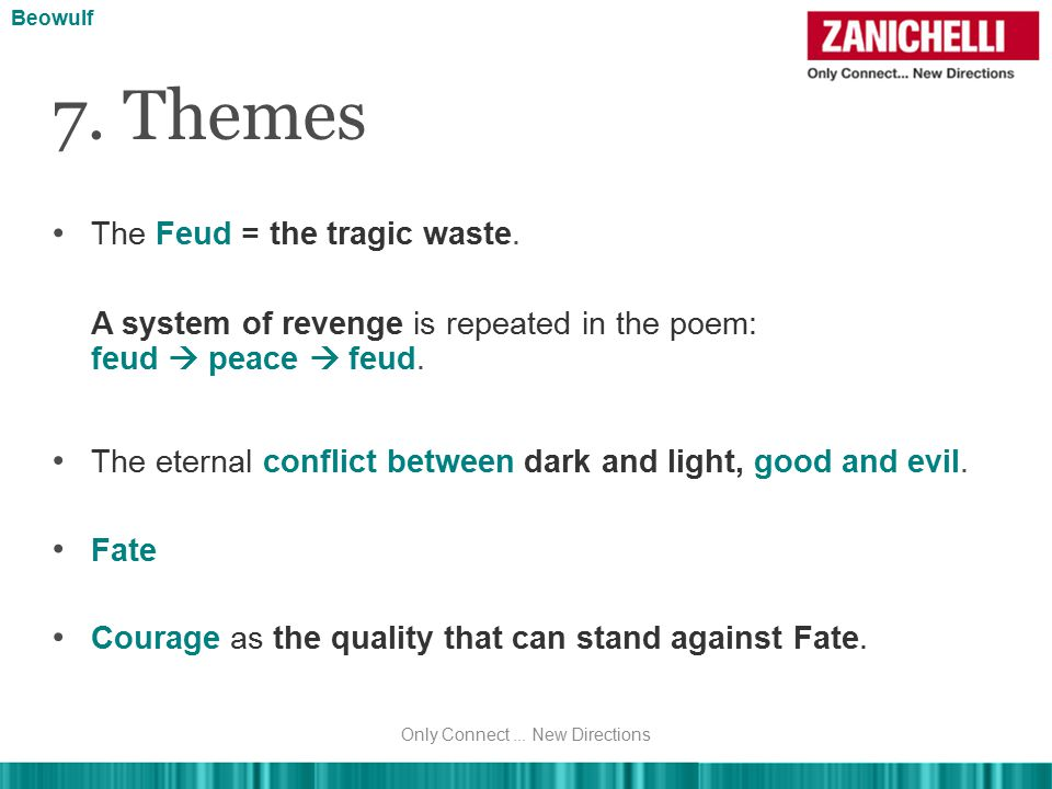 The Feud = the tragic waste. 7. Themes Beowulf A system of revenge is repeated in the poem: feud  peace  feud. The eternal conflict between dark and