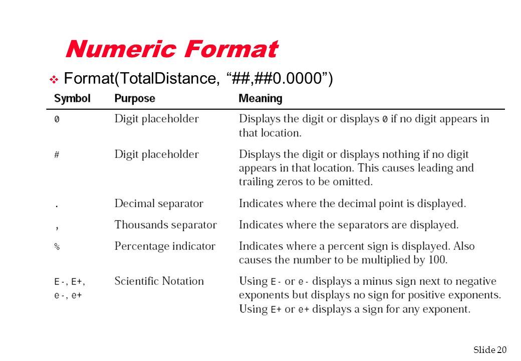 Slide 20 Numeric Format v Format(TotalDistance, ##,##0.0000 )