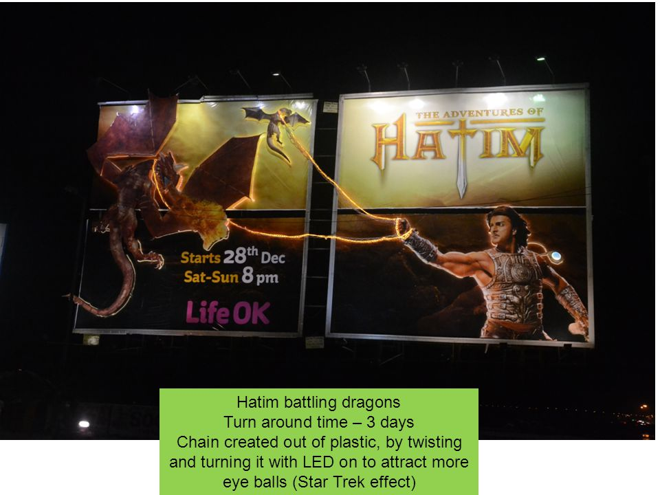 Hatim battling dragons Turn around time – 3 days Chain created out of plastic, by twisting and turning it with LED on to attract more eye balls (Star