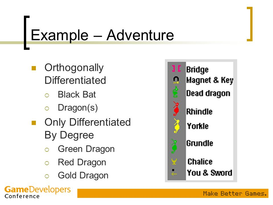Example – Adventure Orthogonally Differentiated  Black Bat  Dragon(s) Only Differentiated By Degree  Green Dragon  Red Dragon  Gold Dragon