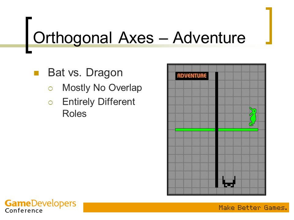 Orthogonal Axes – Adventure Bat vs. Dragon  Mostly No Overlap  Entirely Different Roles