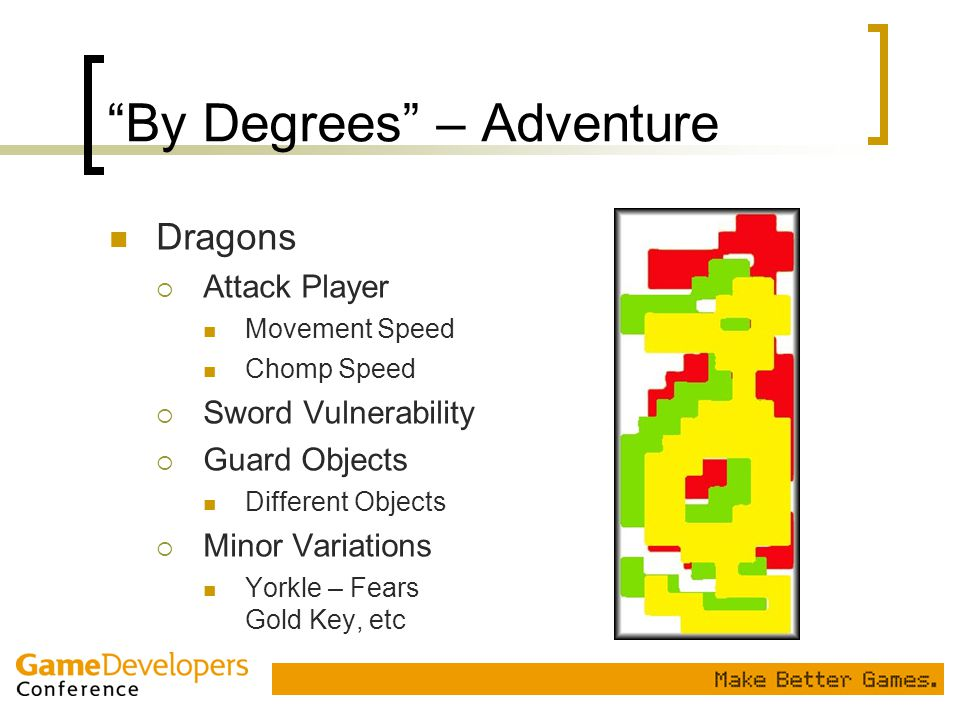 """By Degrees"" – Adventure Dragons  Attack Player Movement Speed Chomp Speed  Sword Vulnerability  Guard Objects Different Objects  Minor Variations"