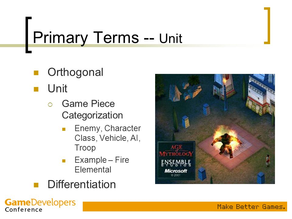 Primary Terms -- Unit Orthogonal Unit  Game Piece Categorization Enemy, Character Class, Vehicle, AI, Troop Example – Fire Elemental Differentiation