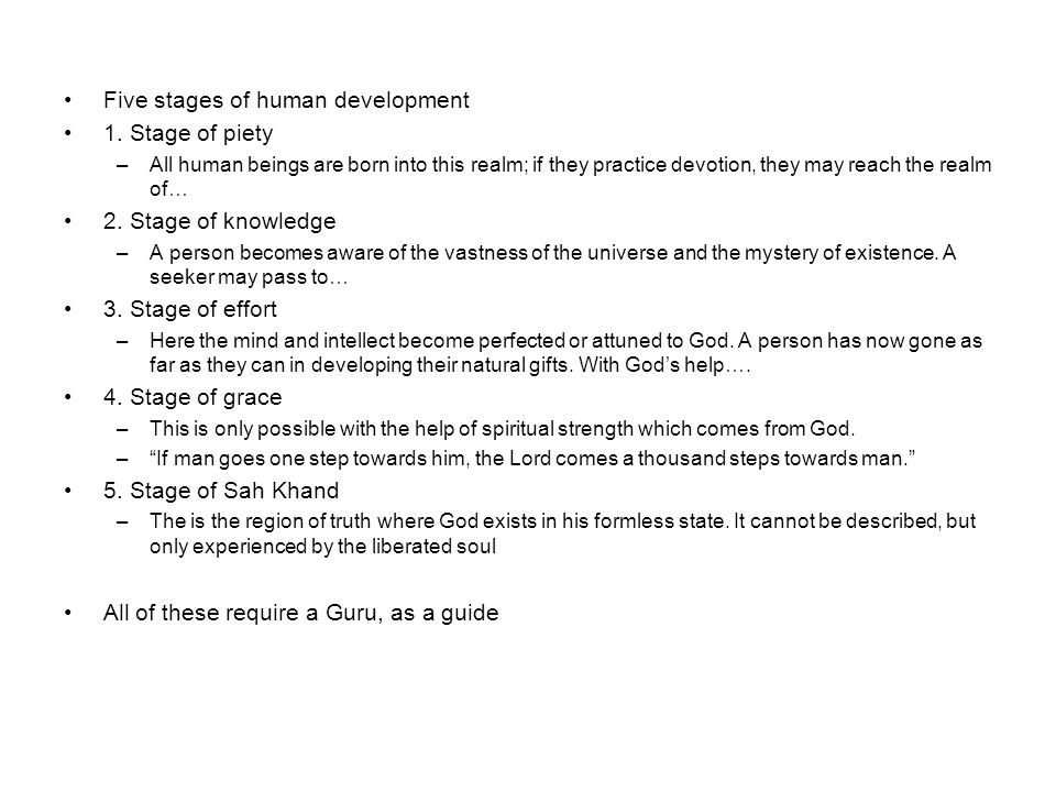 Five stages of human development 1.
