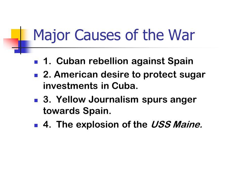 Major Causes of the War 1.Cuban rebellion against Spain 2.
