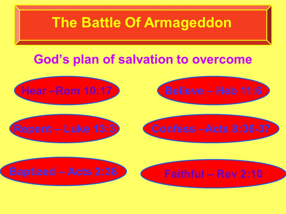 God's plan of salvation to overcome The Battle Of Armageddon Hear –Rom 10:17Believe – Heb 11:6 Repent – Luke 13:3Confess –Acts 8:36-37 Baptized – Acts 2:38 Faithful – Rev 2:10