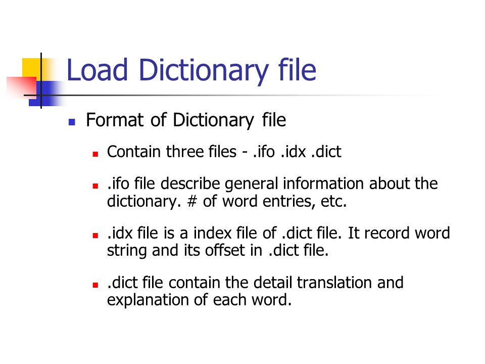 Load Dictionary file Format of Dictionary file Contain three files -.ifo.idx.dict.ifo file describe general information about the dictionary. # of wor