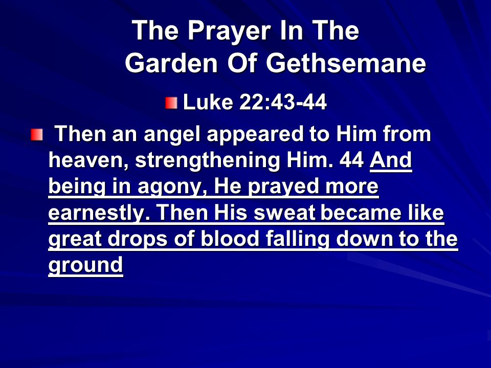 The Prayer In The Garden Of Gethsemane Luke 22:43-44 Then an angel appeared to Him from heaven, strengthening Him.