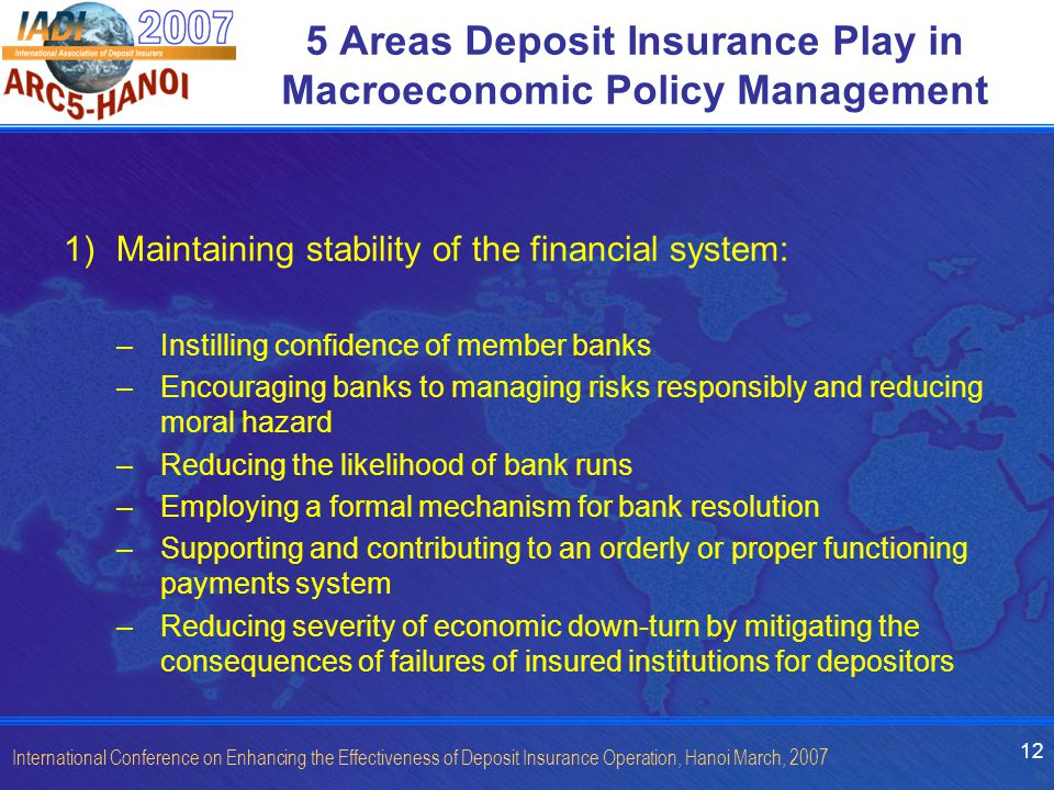 12 International Conference on Enhancing the Effectiveness of Deposit Insurance Operation, Hanoi March, 2007 5 Areas Deposit Insurance Play in Macroeconomic Policy Management 1)Maintaining stability of the financial system: –Instilling confidence of member banks –Encouraging banks to managing risks responsibly and reducing moral hazard –Reducing the likelihood of bank runs –Employing a formal mechanism for bank resolution –Supporting and contributing to an orderly or proper functioning payments system –Reducing severity of economic down-turn by mitigating the consequences of failures of insured institutions for depositors