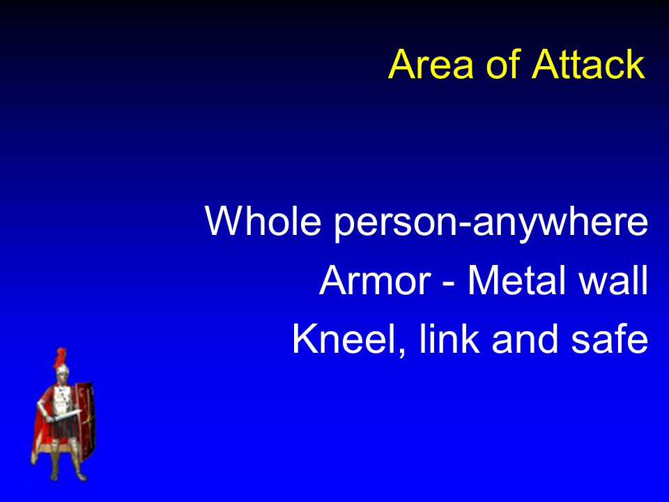Area of Attack Whole person-anywhere Armor - Metal wall Kneel, link and safe