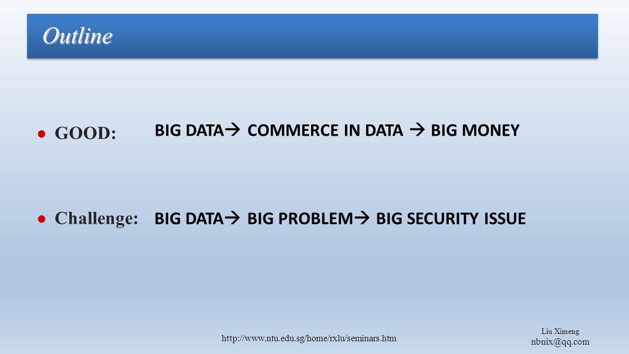 Liu Ximeng nbnix@qq.com http://www.ntu.edu.sg/home/rxlu/seminars.htm GOOD: Challenge: Outline BIG DATA  COMMERCE IN DATA  BIG MONEY BIG DATA  BIG PROBLEM  BIG SECURITY ISSUE