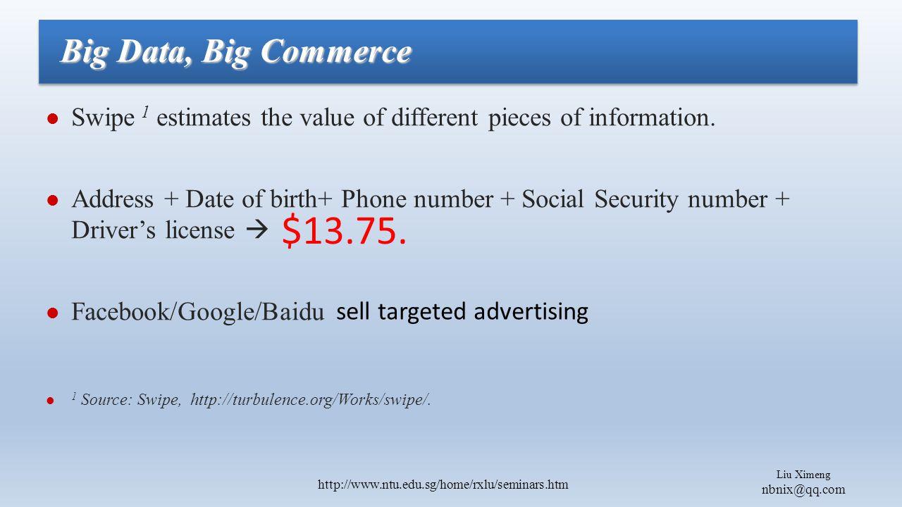 Liu Ximeng nbnix@qq.com http://www.ntu.edu.sg/home/rxlu/seminars.htm Swipe 1 estimates the value of different pieces of information.
