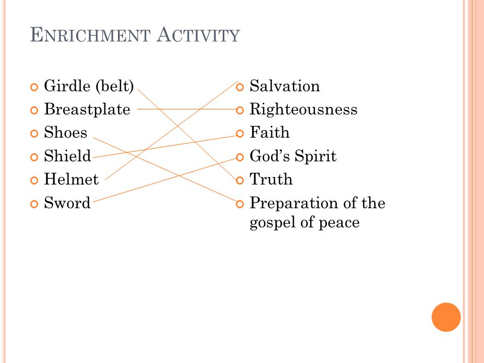 E NRICHMENT A CTIVITY Girdle (belt) Breastplate Shoes Shield Helmet Sword Salvation Righteousness Faith God's Spirit Truth Preparation of the gospel of peace
