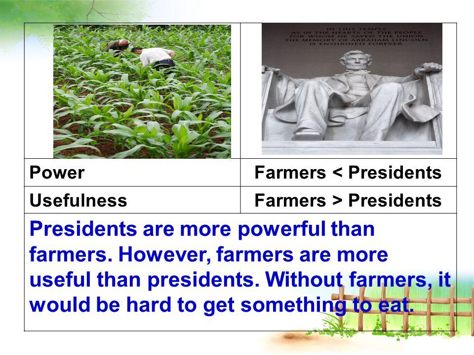 PowerFarmers < Presidents UsefulnessFarmers > Presidents Presidents are more powerful than farmers.