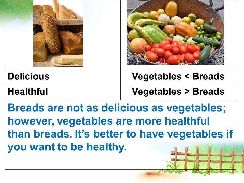 DeliciousVegetables < Breads HealthfulVegetables > Breads Breads are not as delicious as vegetables; however, vegetables are more healthful than breads.