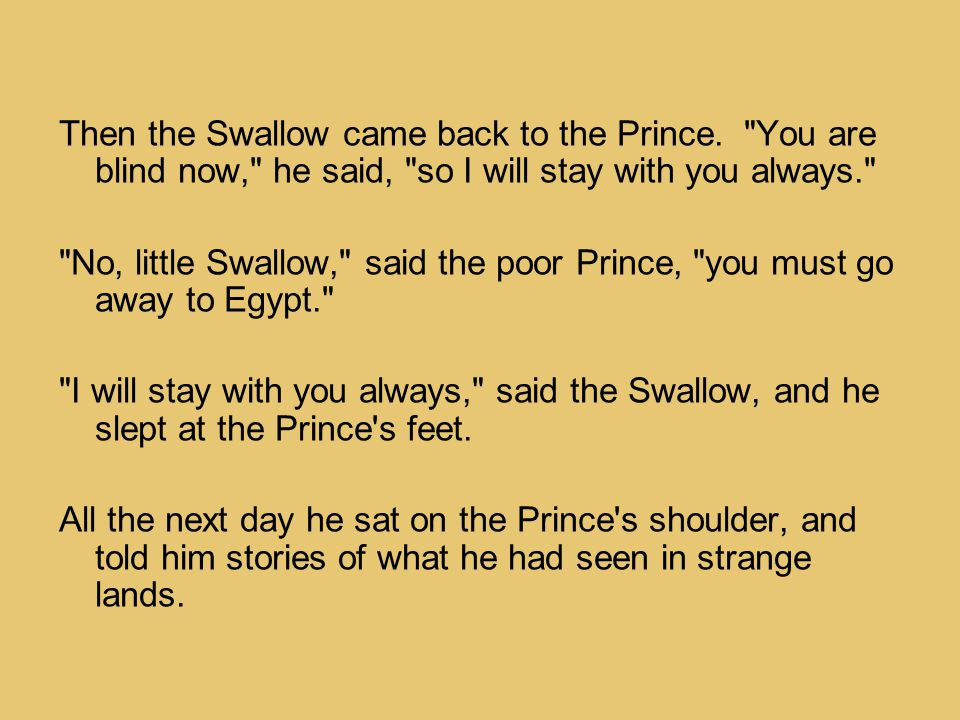 Then the Swallow came back to the Prince.
