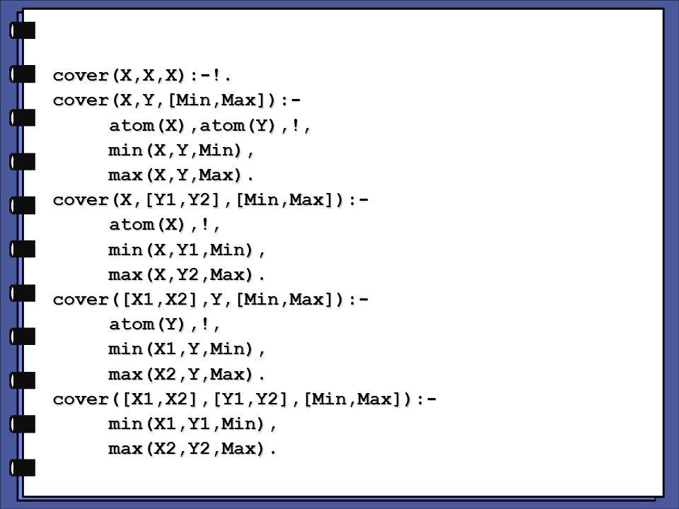 cover(X,X,X):-!.cover(X,Y,[Min,Max]):- atom(X),atom(Y),!, atom(X),atom(Y),!, min(X,Y,Min), min(X,Y,Min), max(X,Y,Max).