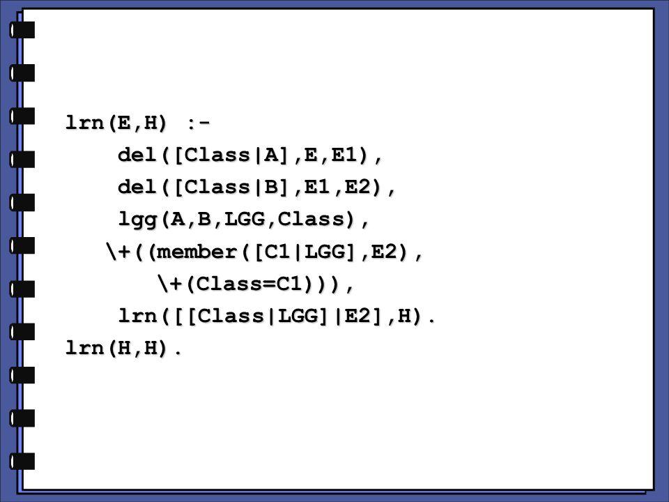 lrn(E,H) :- lrn(E,H) :- del([Class|A],E,E1), del([Class|A],E,E1), del([Class|B],E1,E2), del([Class|B],E1,E2), lgg(A,B,LGG,Class), lgg(A,B,LGG,Class), \+((member([C1|LGG],E2), \+((member([C1|LGG],E2), \+(Class=C1))), \+(Class=C1))), lrn([[Class|LGG]|E2],H).