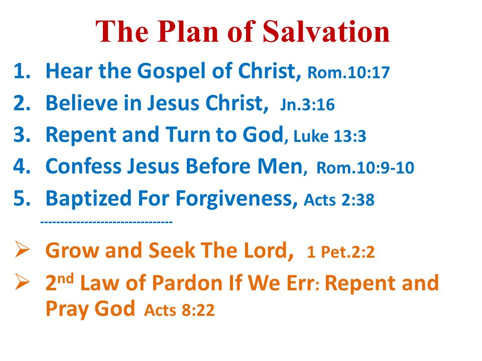 The Plan of Salvation 1.Hear the Gospel of Christ, Rom.10:17 2.Believe in Jesus Christ, Jn.3:16 3.Repent and Turn to God, Luke 13:3 4.Confess Jesus Before Men, Rom.10:9-10 5.Baptized For Forgiveness, Acts 2:38 ---------------------------------  Grow and Seek The Lord, 1 Pet.2:2  2 nd Law of Pardon If We Err : Repent and Pray God Acts 8:22