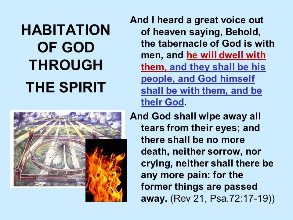 HABITATION OF GOD THROUGH THE SPIRIT And I heard a great voice out of heaven saying, Behold, the tabernacle of God is with men, and he will dwell with them, and they shall be his people, and God himself shall be with them, and be their God.