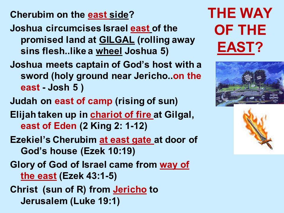 THE WAY OF THE EAST. Cherubim on the east side.