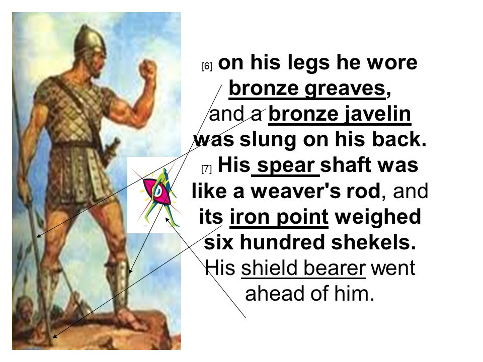 [6] on his legs he wore bronze greaves, and a bronze javelin was slung on his back.