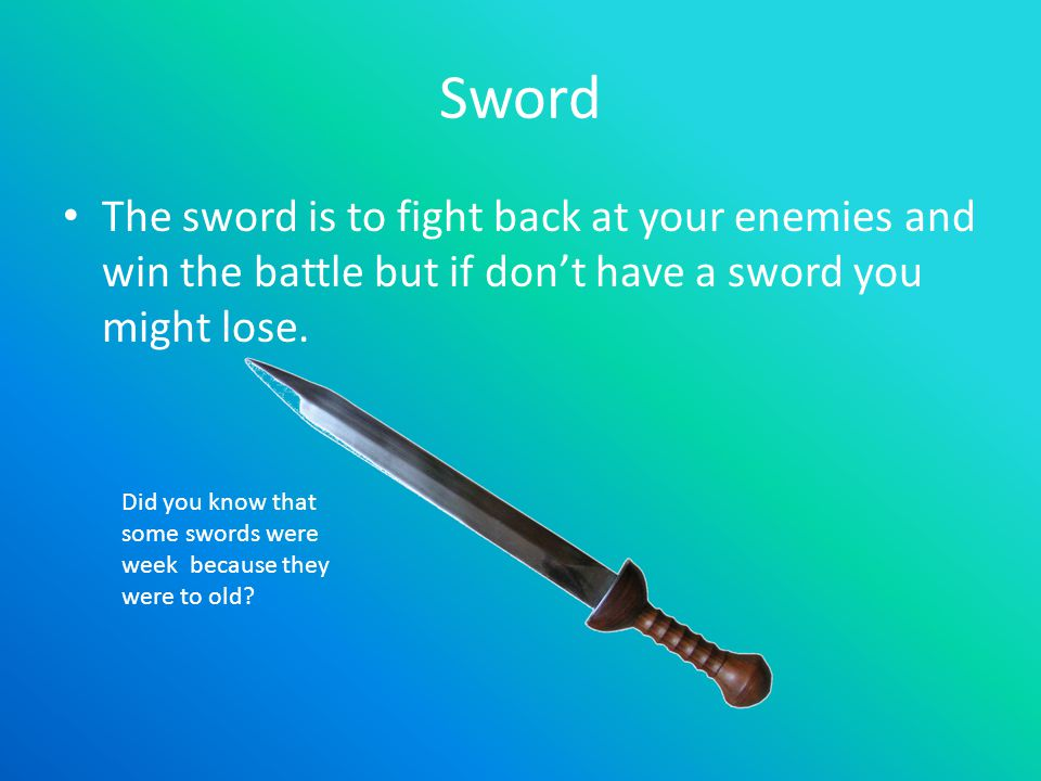 Sword The sword is to fight back at your enemies and win the battle but if don't have a sword you might lose.