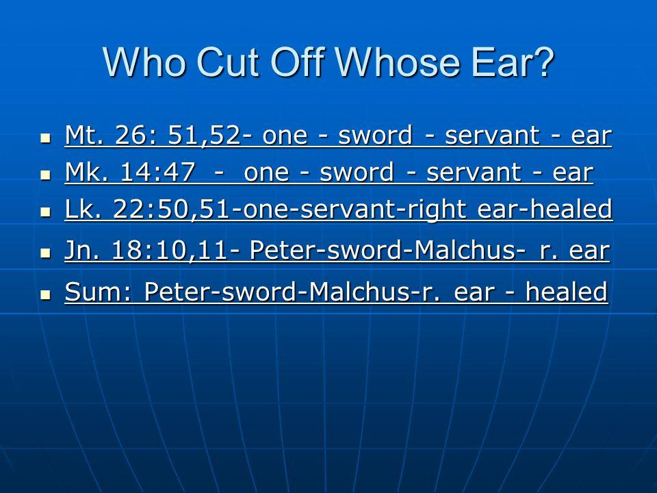 Who Cut Off Whose Ear. Mt. 26: 51,52- one - sword - servant - ear Mt.