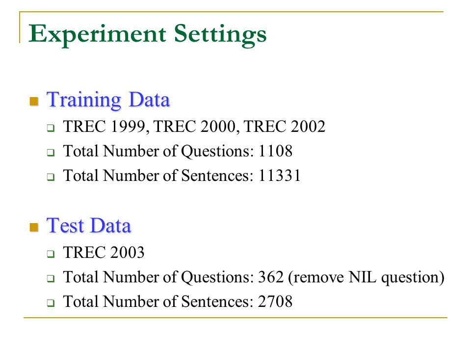 Experiment Settings Training Data Training Data  TREC 1999, TREC 2000, TREC 2002  Total Number of Questions: 1108  Total Number of Sentences: 11331 Test Data Test Data  TREC 2003  Total Number of Questions: 362 (remove NIL question)  Total Number of Sentences: 2708