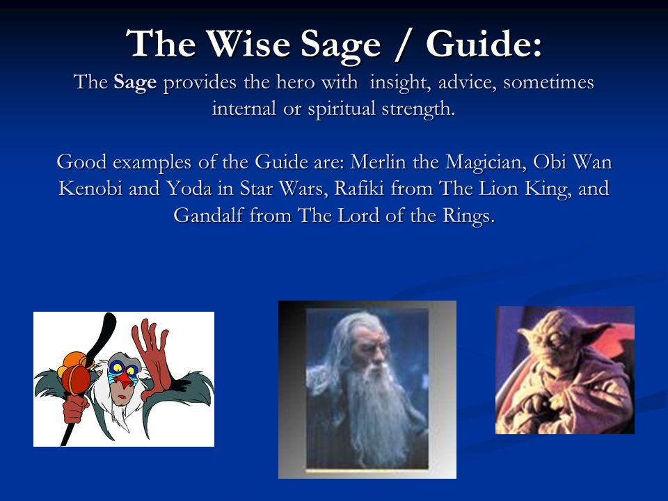The Wise Sage / Guide: The Sage provides the hero with insight, advice, sometimes internal or spiritual strength.