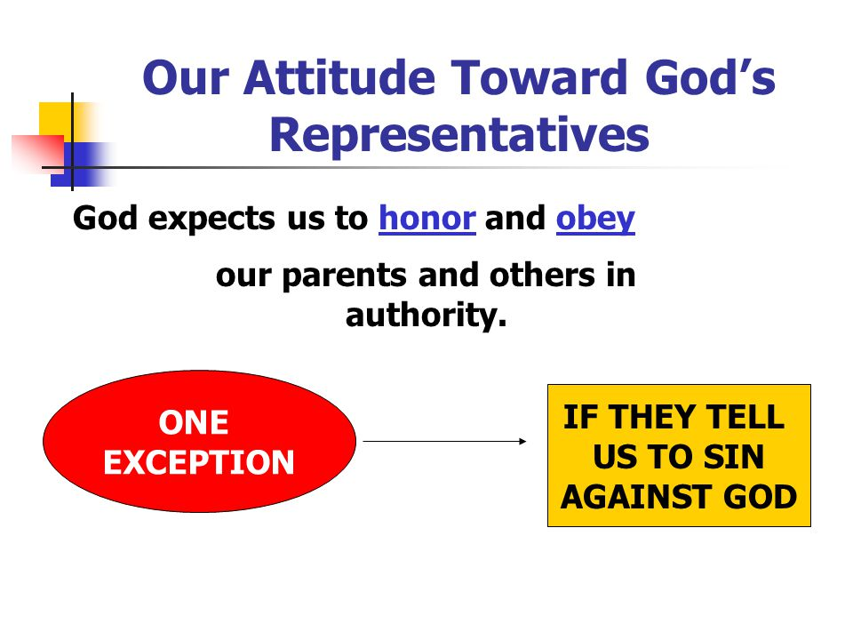 Our Attitude Toward God's Representatives God expects us tohonorandobey our parents and others in authority.