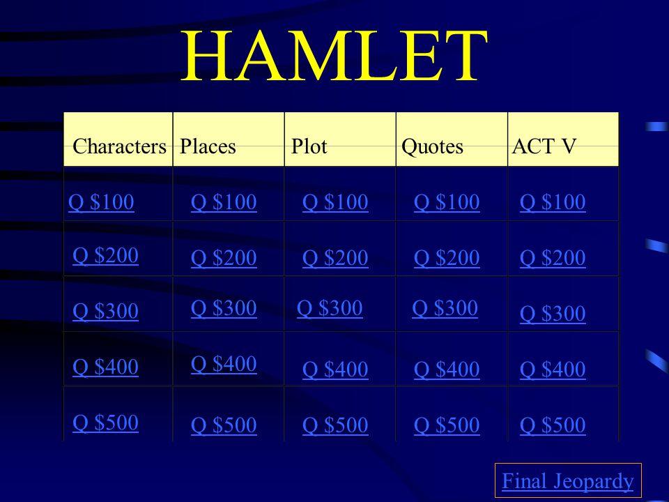 HAMLET CharactersPlacesPlotQuotes ACT V Q $100 Q $200 Q $300 Q $400 Q $500 Q $100 Q $200 Q $300 Q $400 Q $500 Final Jeopardy