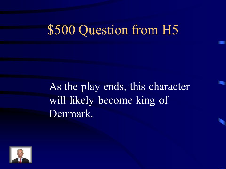 $400 Answer from H5 Who is Hamlet
