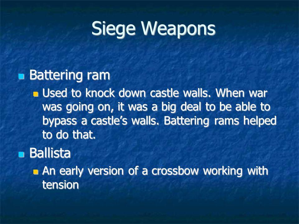 Siege Weapons Battering ram Battering ram Used to knock down castle walls.