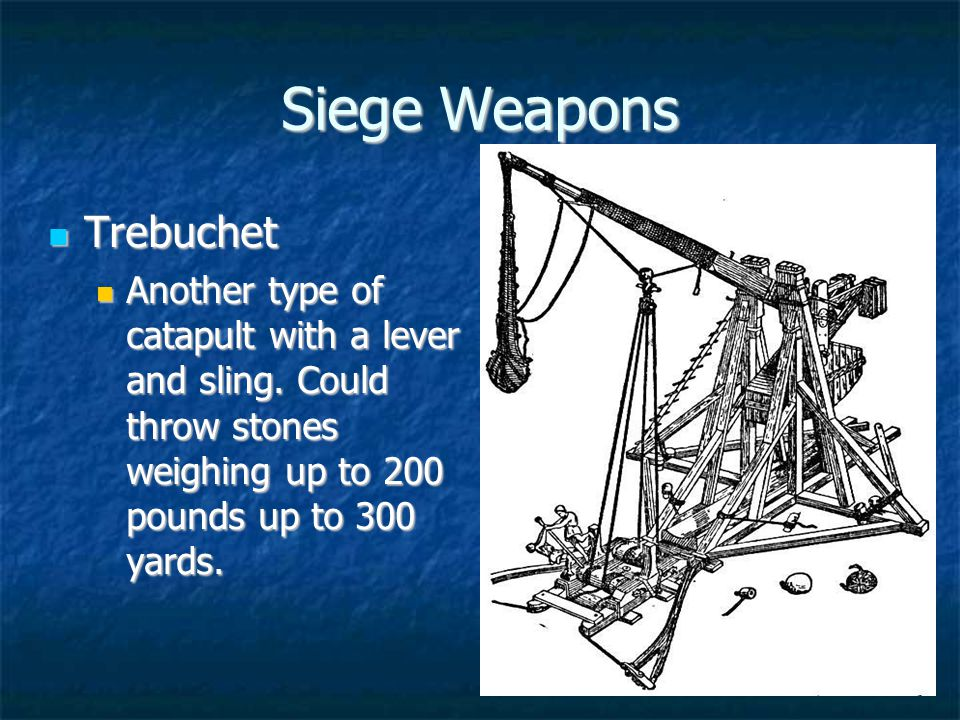 Siege Weapons Trebuchet Trebuchet Another type of catapult with a lever and sling.