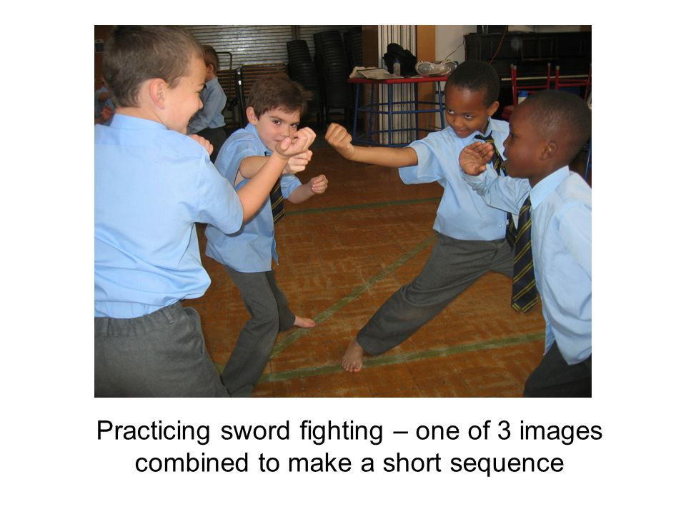 Practicing sword fighting – one of 3 images combined to make a short sequence