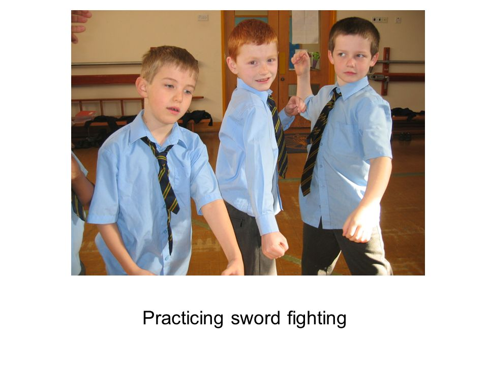 Practicing sword fighting