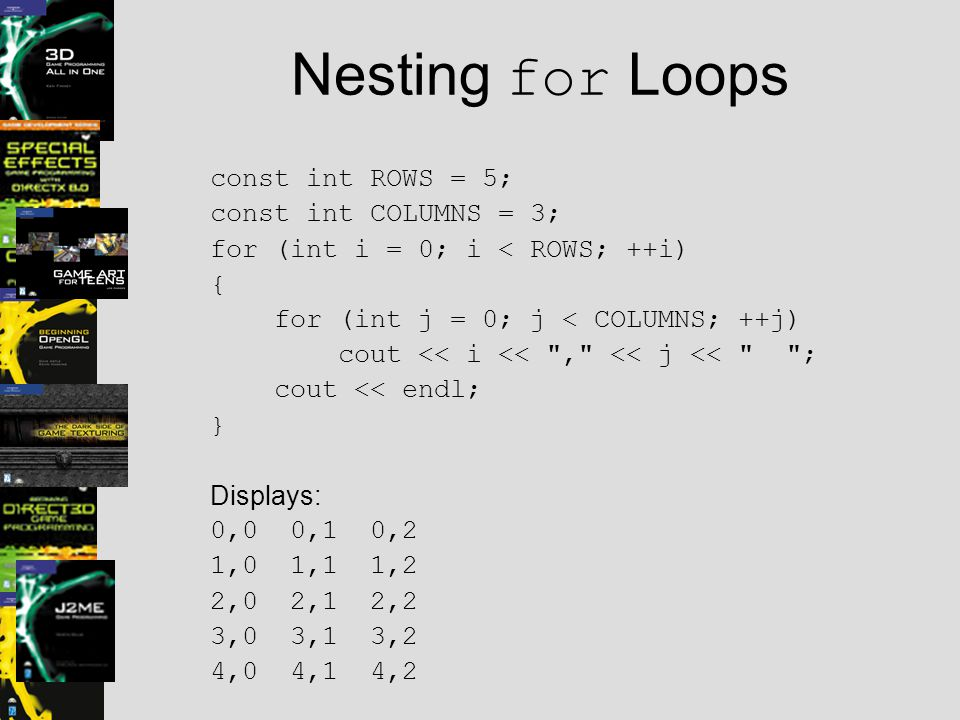 Array Bounds Array indexing begins at 0, just as with string objects int highScores[5]; Defines a five-element array Valid position numbers are 0 through 4, inclusive There is no element highScores[5] C++ compilers do not perform array bounds checking!