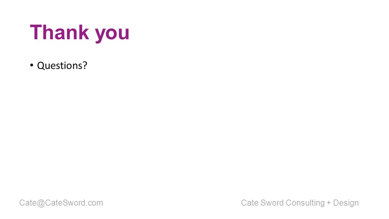 Thank you Questions Cate Sword Consulting + DesignCate@CateSword.com
