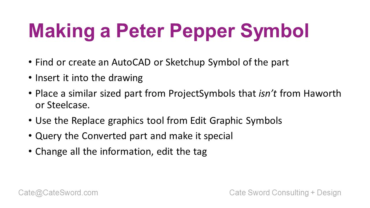 Making a Peter Pepper Symbol Find or create an AutoCAD or Sketchup Symbol of the part Insert it into the drawing Place a similar sized part from ProjectSymbols that isn't from Haworth or Steelcase.