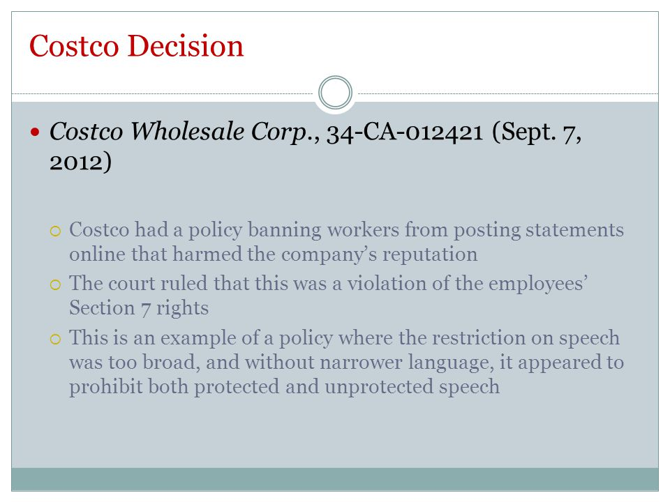 Costco Decision Costco Wholesale Corp., 34-CA-012421 (Sept.