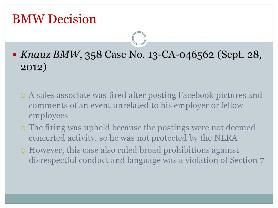 BMW Decision Knauz BMW, 358 Case No. 13-CA-046562 (Sept.