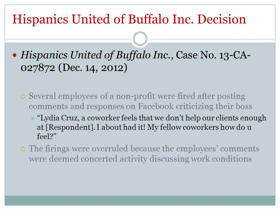Hispanics United of Buffalo Inc. Decision Hispanics United of Buffalo Inc., Case No.