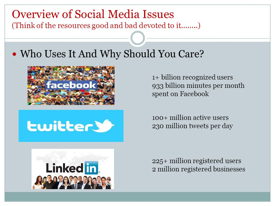 Overview of Social Media Issues (Think of the resources good and bad devoted to it……..) Who Uses It And Why Should You Care.