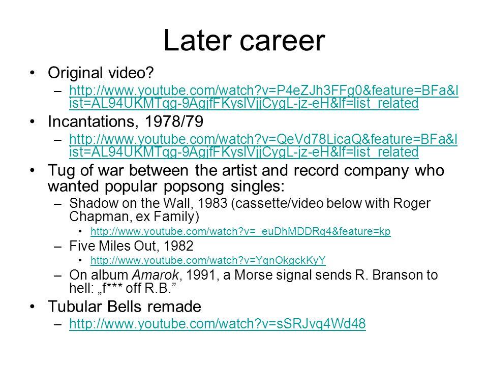 Later career Original video? –http://www.youtube.com/watch?v=P4eZJh3FFg0&feature=BFa&l ist=AL94UKMTqg-9AgjfFKyslVjjCygL-jz-eH&lf=list_relatedhttp://ww