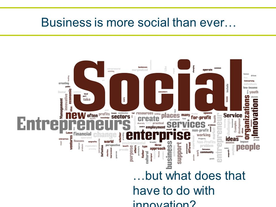 Business is more social than ever… …but what does that have to do with innovation