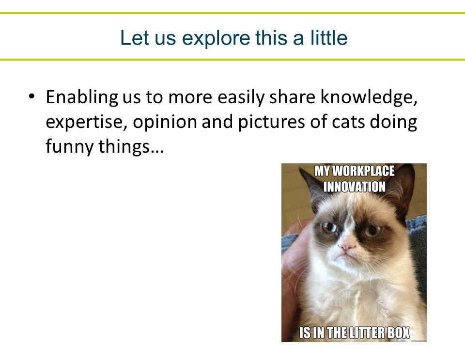Let us explore this a little Enabling us to more easily share knowledge, expertise, opinion and pictures of cats doing funny things…