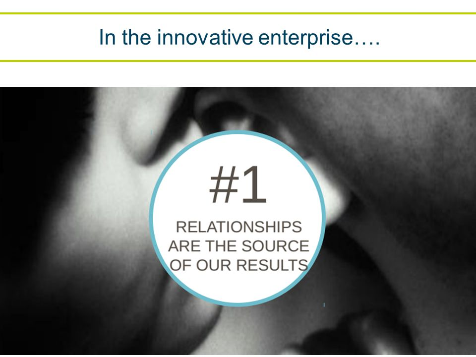 In the innovative enterprise….