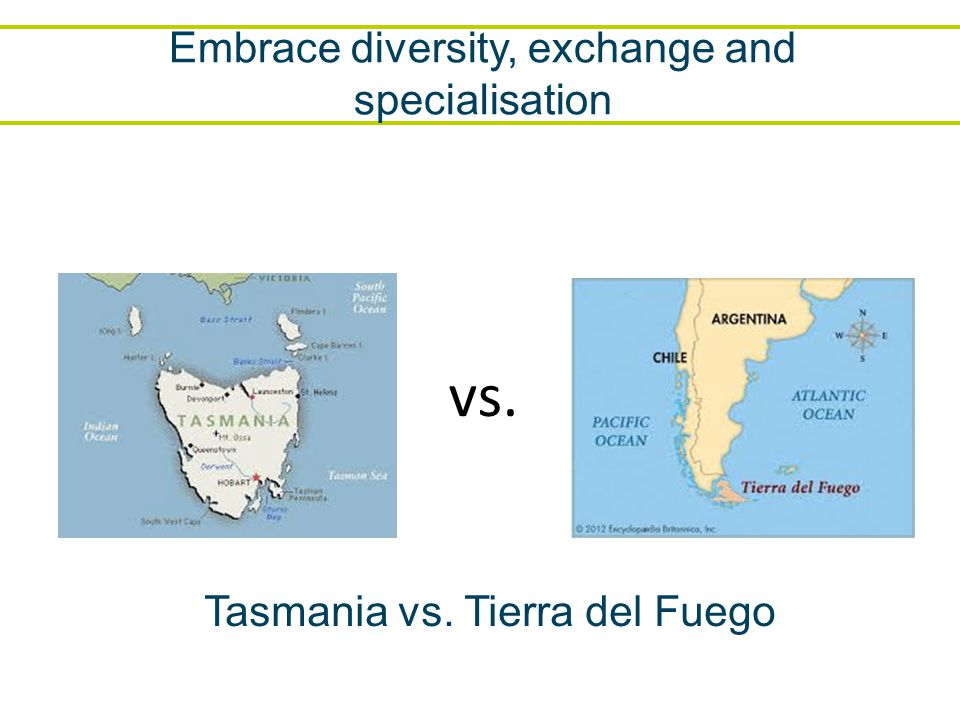 Embrace diversity, exchange and specialisation vs. Tasmania vs. Tierra del Fuego